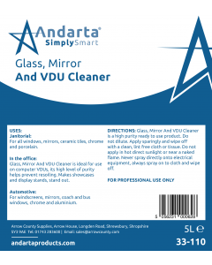 Andarta Glass, Mirror and VDU Cleaner Label