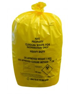 Yellow Heavy Duty Clinical Waste Sack Roll 11x17x26