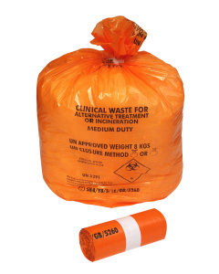 Orange Clinical Waste Sack Roll 50 9x17x26 (1 Roll)