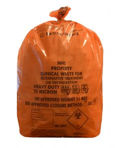 Orange Heavy Duty Clinical Waste Sack 15x28x39 (6 Rolls)