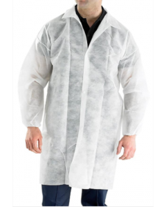 White Non-Woven Visitors Coats with Velcro Fastening (Pack 50)