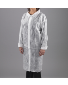 Non-Woven Visitors Coats White with Velcro Fastening and Elasticated Wrists XL