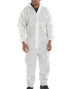 Micropprous Disp Coverall White Med