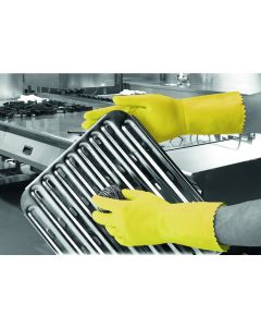 Optima Medium Weight Natural Rubber Glove Yellow Small  (6-6.5)
