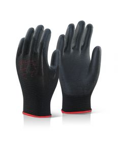 PU Palm Coated Gloves Black (Pack of 10)