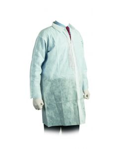 White Non-Woven Visitors Coat 3XL Velcro Fastening